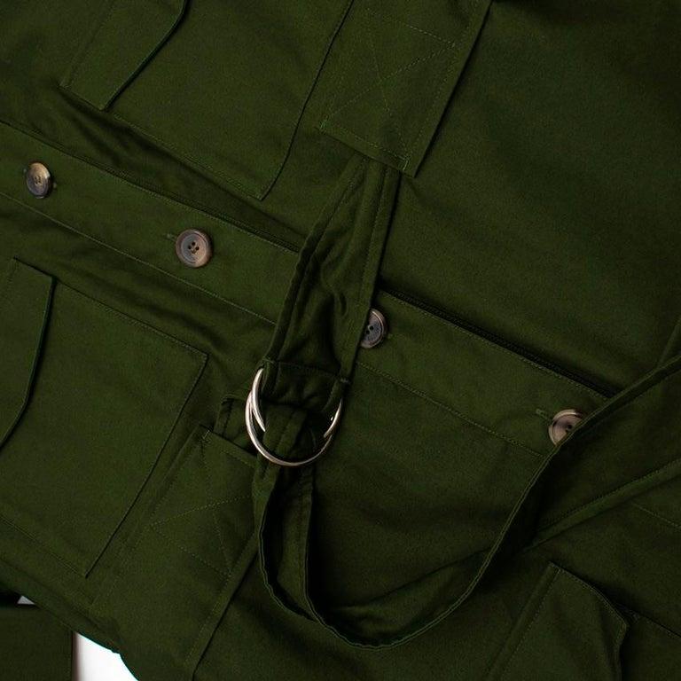 Celine Green Cotton Utility Dress - Size US 10 For Sale 1