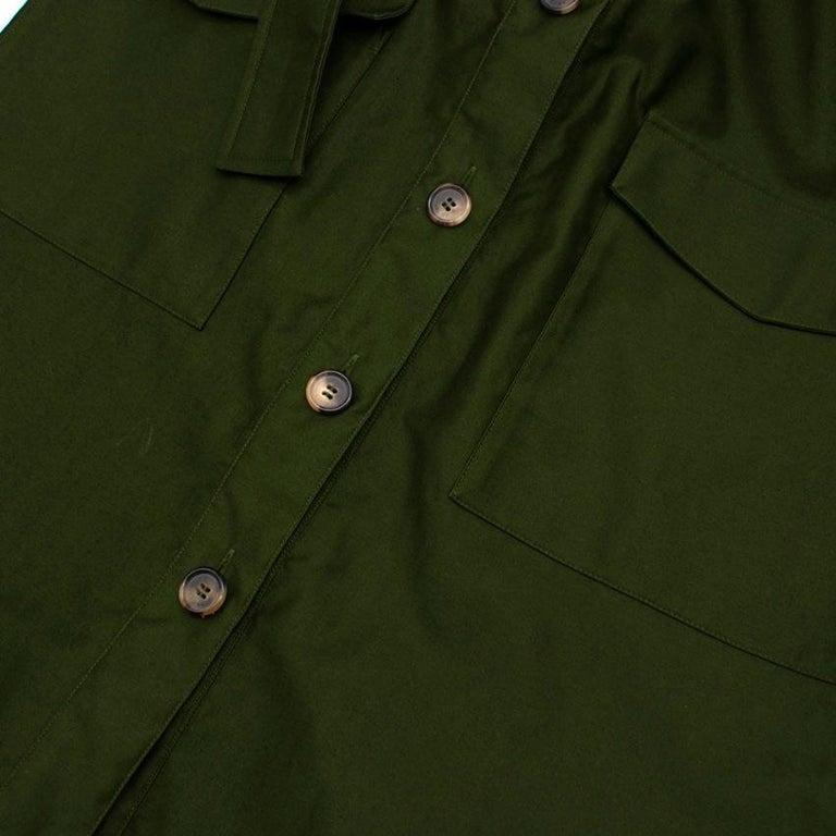 Celine Green Cotton Utility Dress - Size US 10 For Sale 2