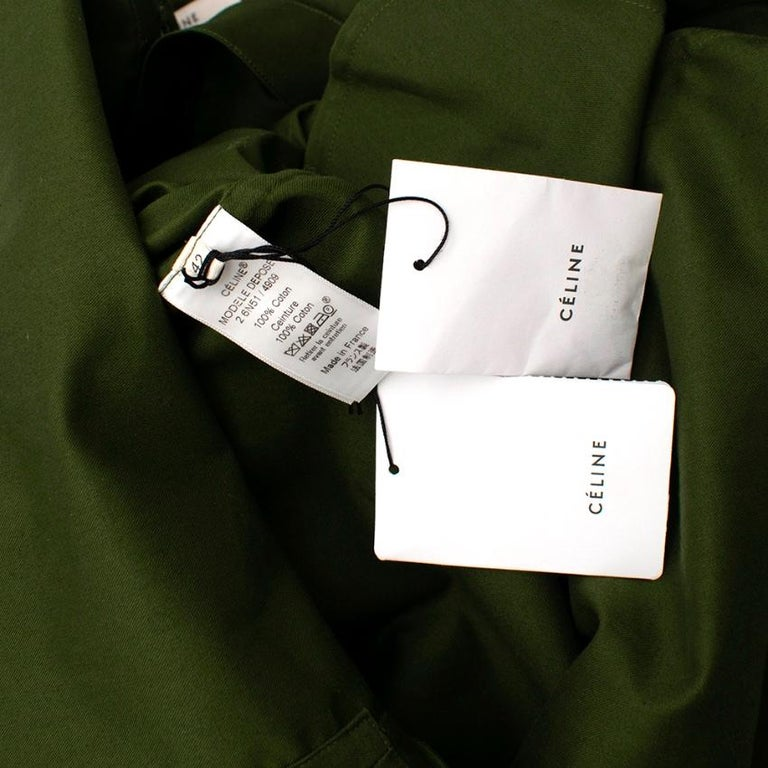 Celine Green Cotton Utility Dress - Size US 10 For Sale 3