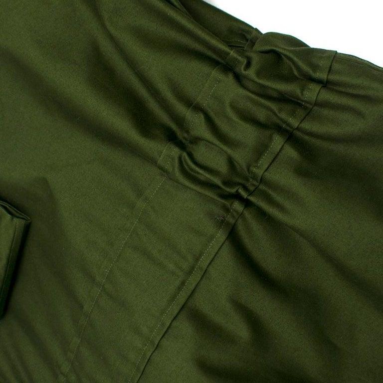 Celine Green Cotton Utility Dress - Size US 10 For Sale 4
