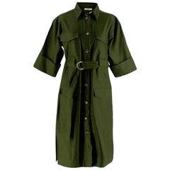 Celine Green Cotton Utility Dress - Size US 10