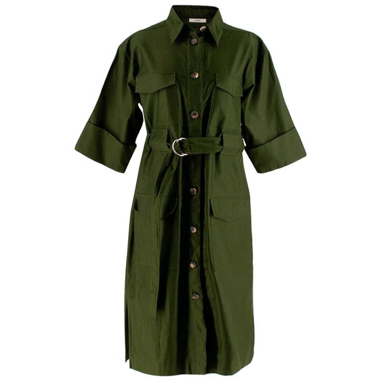 Celine Green Cotton Utility Dress - Size US 10 For Sale