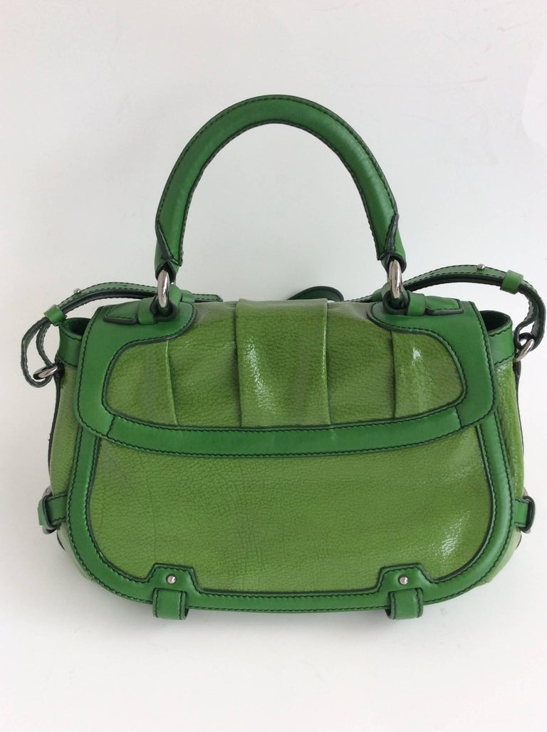 1stdibs Celine Green Patent Leather Satchel With Shoulder Strap With Silver Hardware lzxsDJRtF