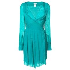 Celine Green Silk Cocktail Dress