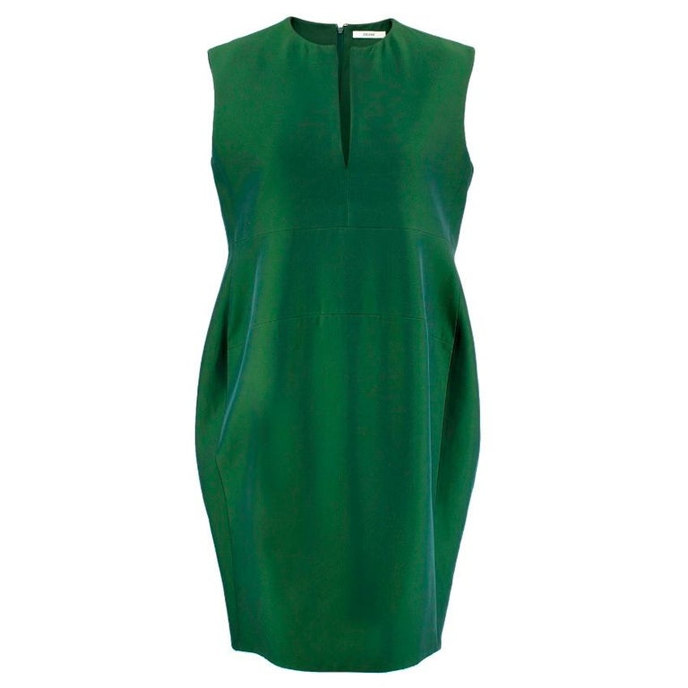 Celine Green Viscose Dress - Bottle green shift dress - Slit neck detail  - Sleeveless  - Zip closure at the back   Condition: 9.5/10  This item has no size, the seller usually wears an S, please refer to measurements below Approx: Length: