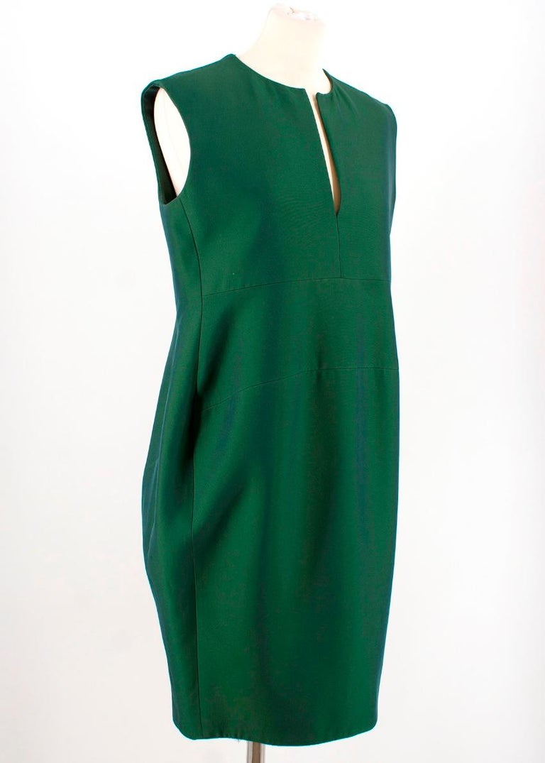 Celine Green Sleeveless Shift Dress - Estimated Size S In Excellent Condition For Sale In London, GB