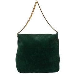 Celine Green Suede Gourmette Shoulder Bag