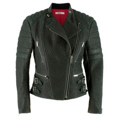 Celine Green Textured Lambskin Biker Jacket - Size US 6