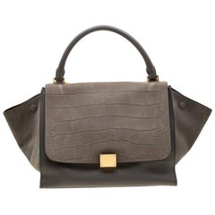 Celine Grey Croc Embossed Leather and Suede Medium Trapeze Bag