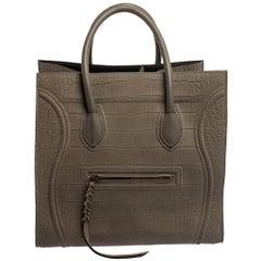 Celine Grey Croc Embossed Leather Large Phantom Luggage Tote