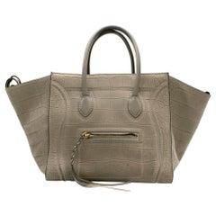 Celine Grey Croc Embossed Phantom Bag