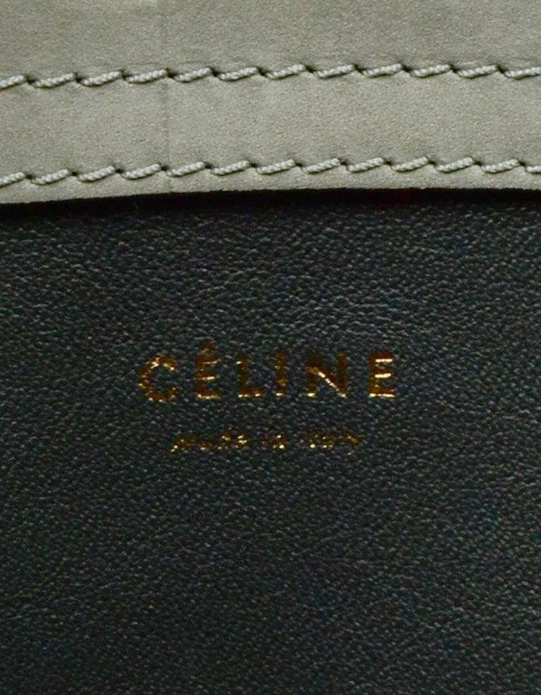 Celine Grey Crocodile Stamped Nubuck Suede Large Phantom Luggage Tote Bag For Sale 6