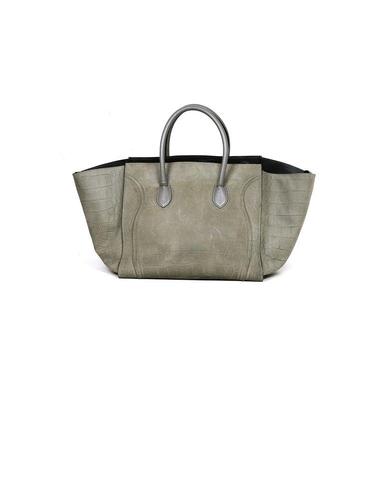 Gray Celine Grey Crocodile Stamped Nubuck Suede Large Phantom Luggage Tote Bag For Sale