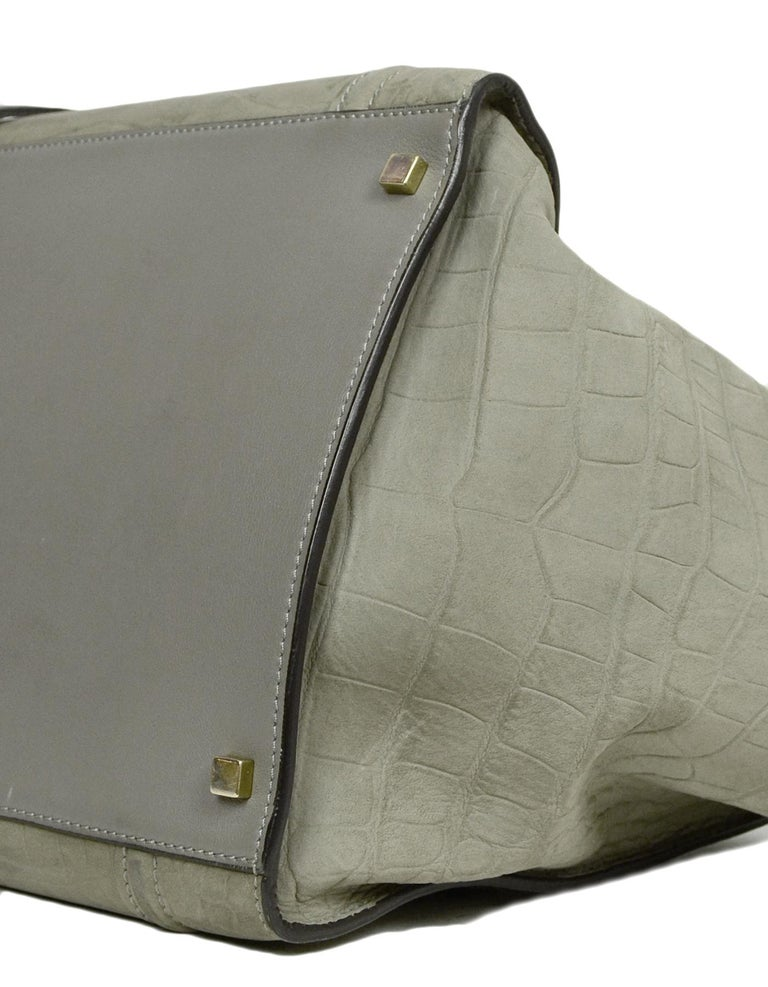 Celine Grey Crocodile Stamped Nubuck Suede Large Phantom Luggage Tote Bag In Good Condition For Sale In New York, NY