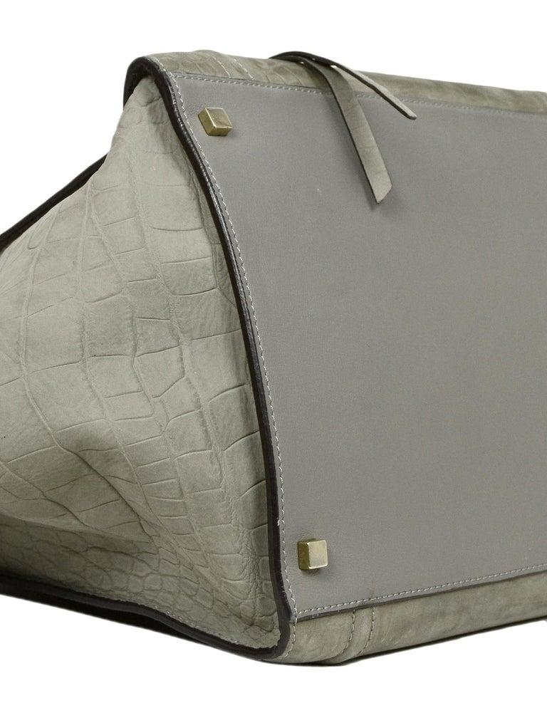 Women's Celine Grey Crocodile Stamped Nubuck Suede Large Phantom Luggage Tote Bag For Sale