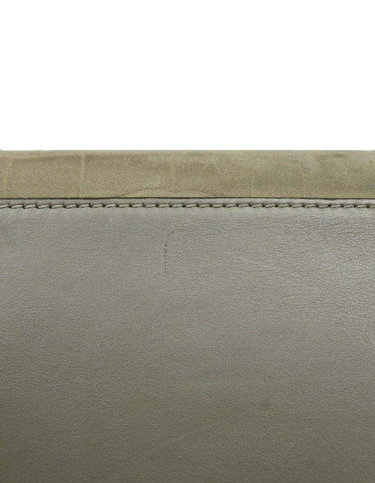 Celine Grey Crocodile Stamped Nubuck Suede Large Phantom Luggage Tote Bag For Sale 1
