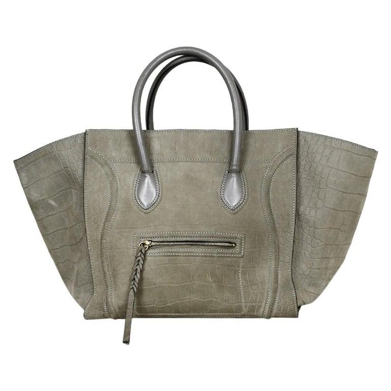 Celine Grey Crocodile Stamped Nubuck Suede Large Phantom Luggage Tote Bag For Sale