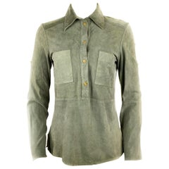 Celine Grey Green Olive Suede Button-Down Shirt Top Size 38
