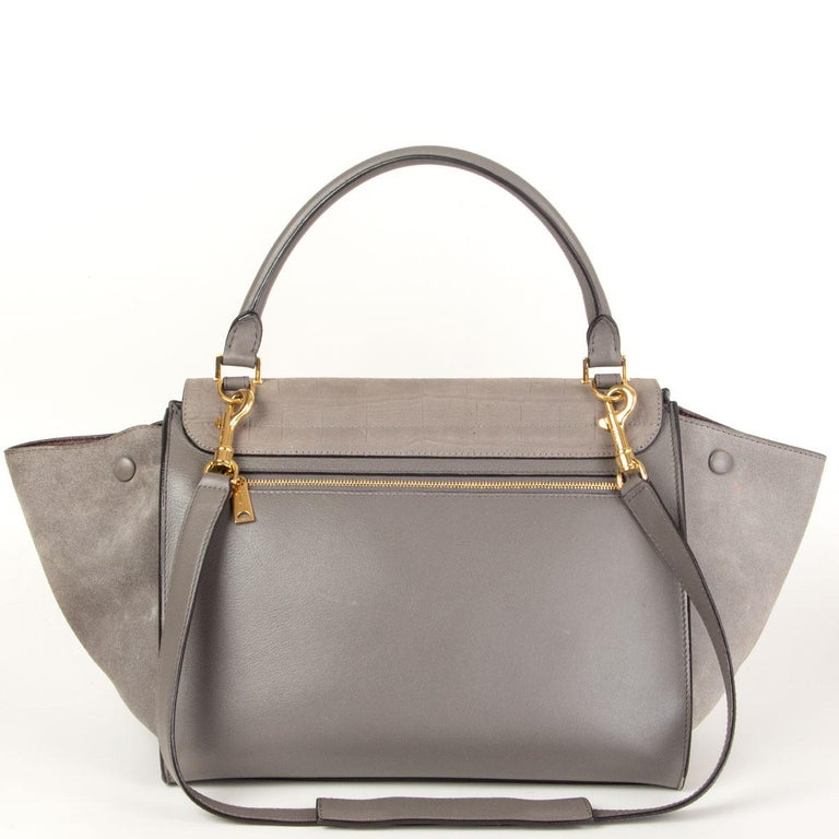 Brown CELINE grey leather & Crocodile Stamped suede TRAPEZE SMALL Shoulder Bag For Sale