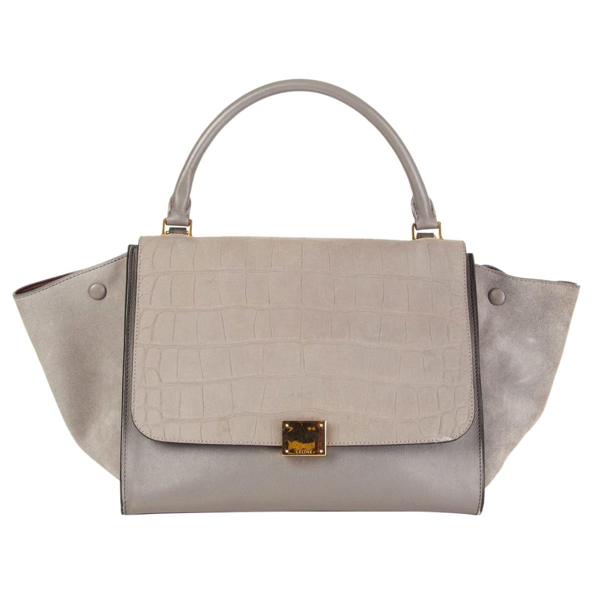 CELINE grey leather & Crocodile Stamped suede TRAPEZE SMALL Shoulder Bag