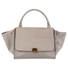 CELINE grey leather & Crocodile Stamped suede TRAPEZE SMALL Shoulder Bag