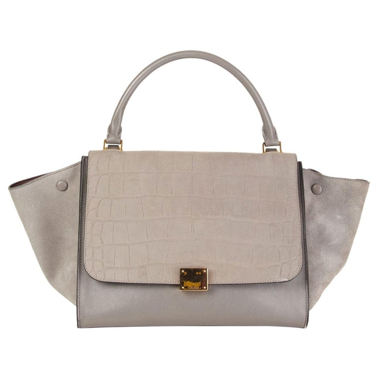 CELINE grey leather & Crocodile Stamped suede TRAPEZE SMALL Shoulder Bag For Sale