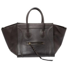 Celine Grey Leather Medium Phantom Luggage Tote