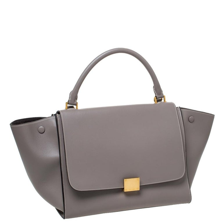 Gray Celine Grey Leather Medium Trapeze Bag