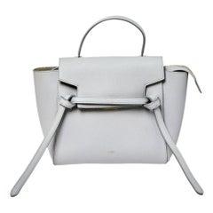 Celine Grey Leather Nano Belt Top Handle Bag
