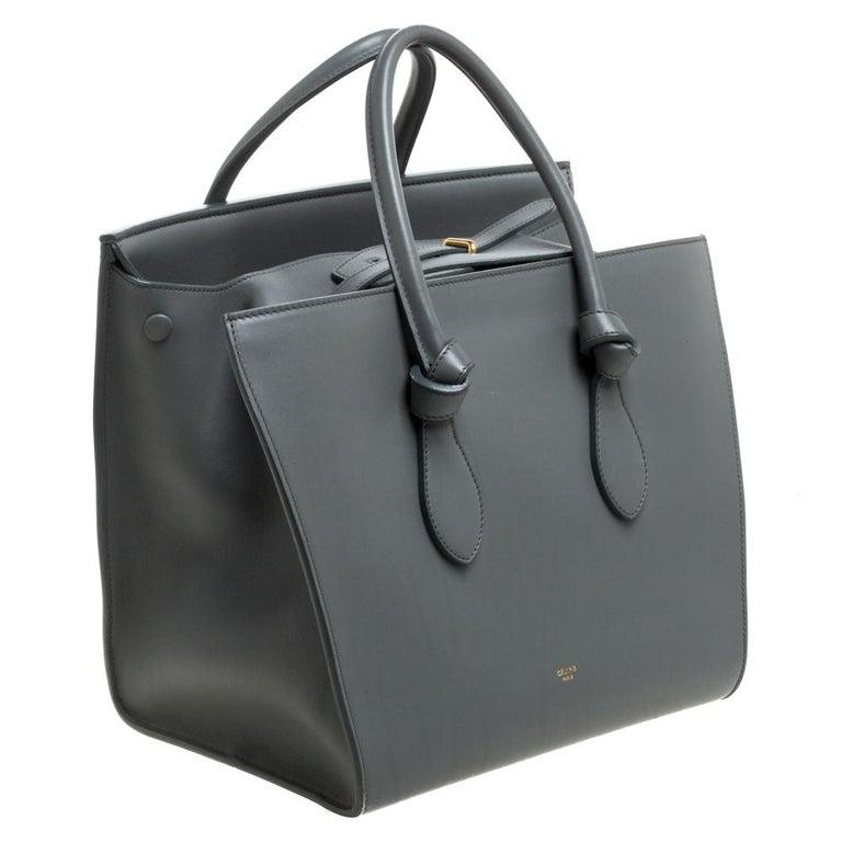 Celine Grey Leather Small Tie Tote In Good Condition For Sale In Dubai, Al Qouz 2