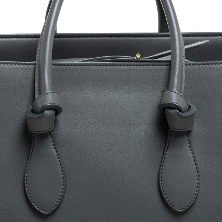Celine Grey Leather Small Tie Tote For Sale 3