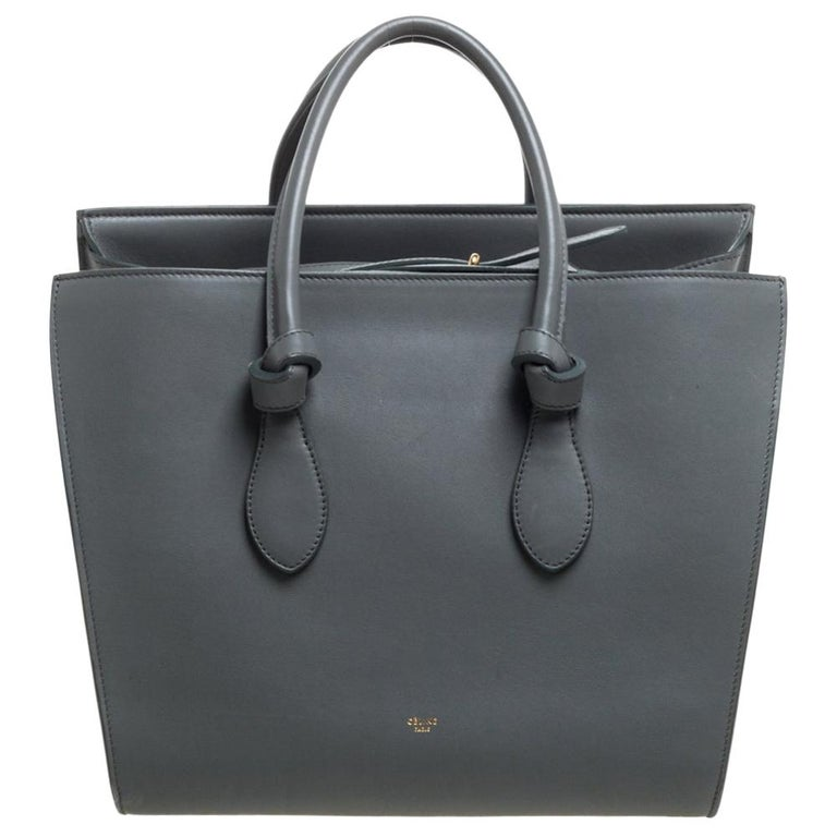 Celine Grey Leather Small Tie Tote For Sale