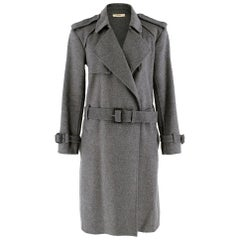 Celine Grey Wool A-Line Belted Coat - Size US 4