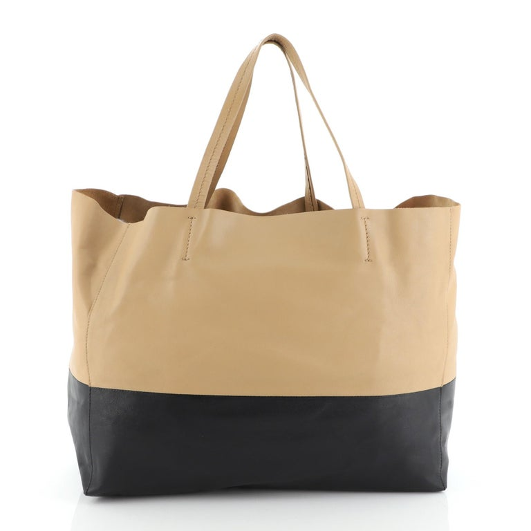 Beige Celine Horizontal Bi-Cabas Tote Leather Large