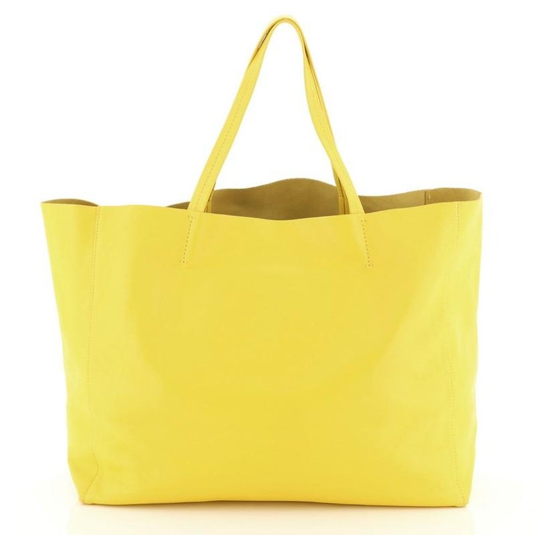 Yellow Celine Horizontal Cabas Tote Leather Large