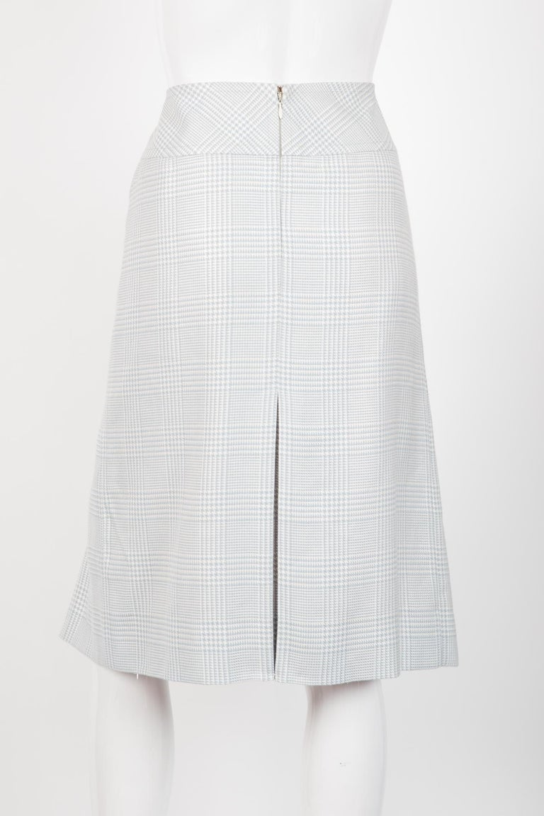 Gray Celine Iconic Blue Check Wool Skirt For Sale