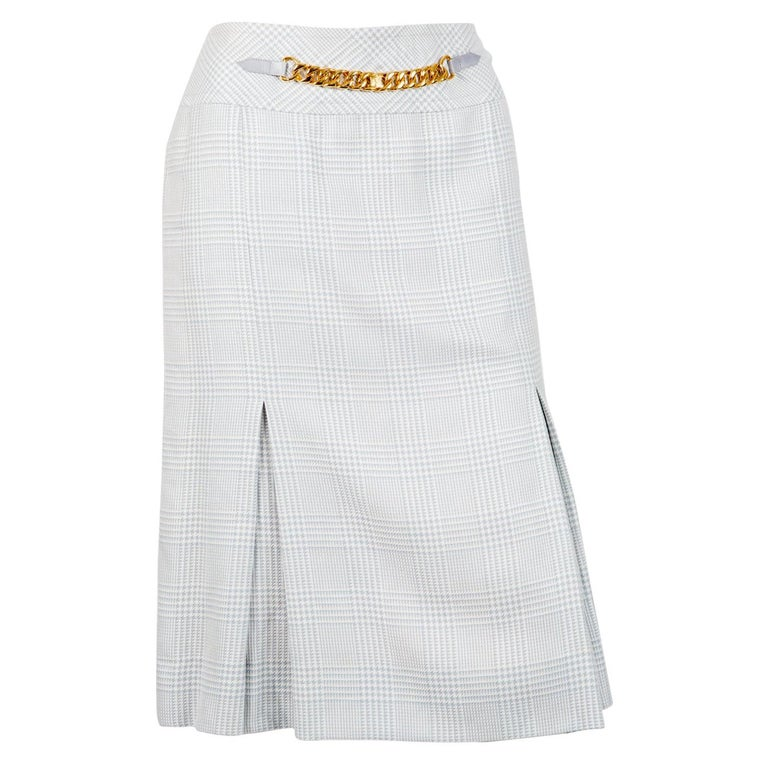 Celine Iconic Blue Check Wool Skirt For Sale