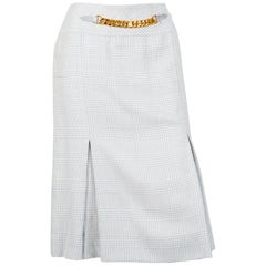 Celine Iconic Blue Check Wool Skirt