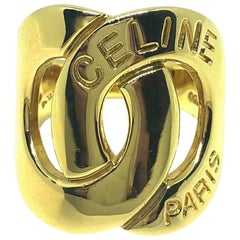 Celine Interlocking Gold Band Ring