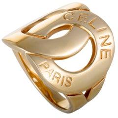 Celine Interlocking Gold Band Ring
