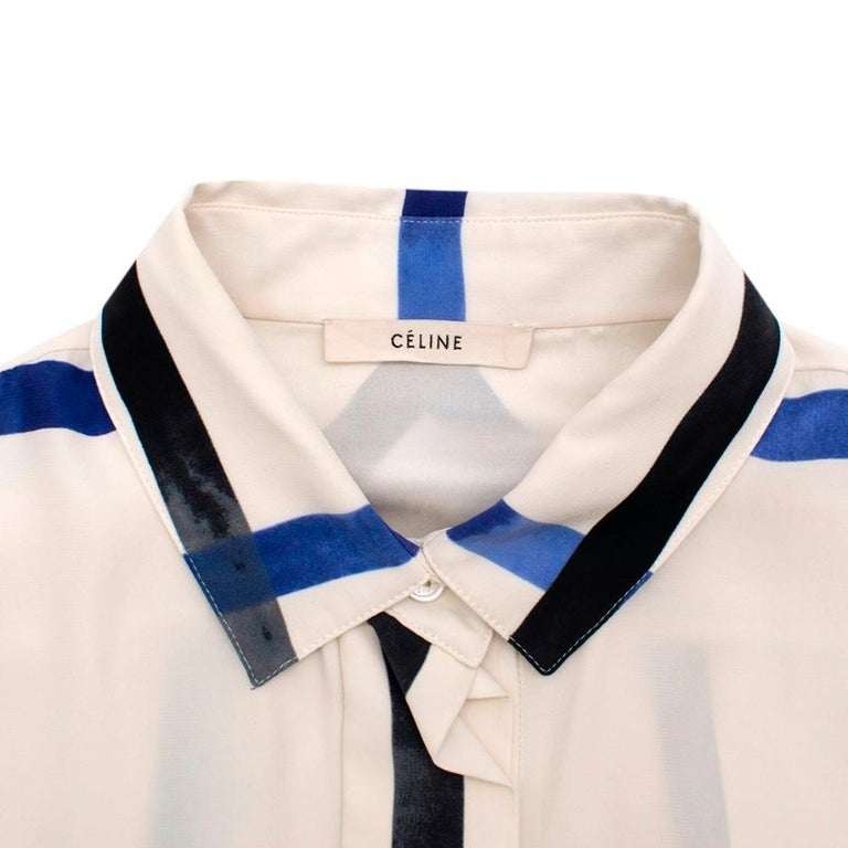 Celine Ivory & Blue Checked Silk Shirt - Size US 6 In New Condition For Sale In London, GB