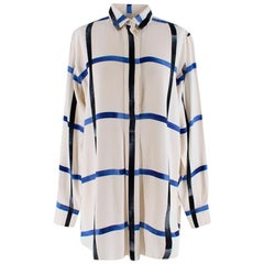 Celine Ivory & Blue Checked Silk Shirt - Size US 6