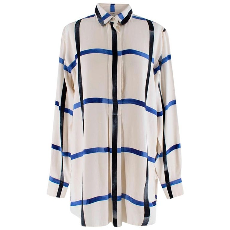 Celine Ivory & Blue Checked Silk Shirt - Size US 6 For Sale
