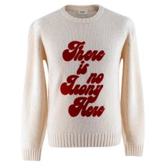 Celine Ivory Knitted Wool Sweatshirt with Red Velvet Print - Small