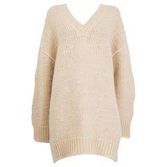 CELINE ivory mohair blend OVERSIZED CHUNKY KNIT Sweater S