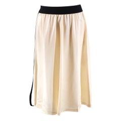 Celine Ivory Satin Zipped Skirt - Size US 4