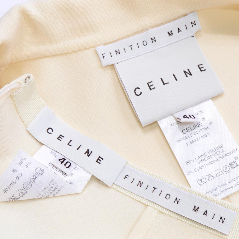 Celine Ivory Wool Suit With Skirt and Cropped Sleeve Jacket In Excellent Condition For Sale In Portland, OR