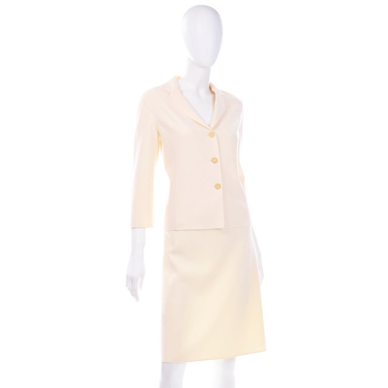 Women's Celine Ivory Wool Suit With Skirt and Cropped Sleeve Jacket For Sale