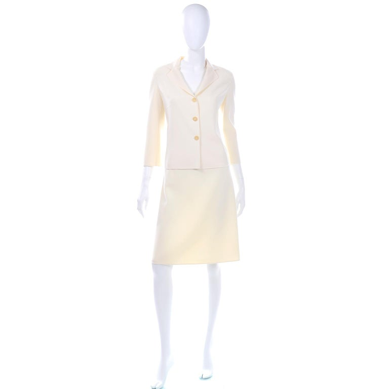 Celine Ivory Wool Suit With Skirt and Cropped Sleeve Jacket For Sale 1