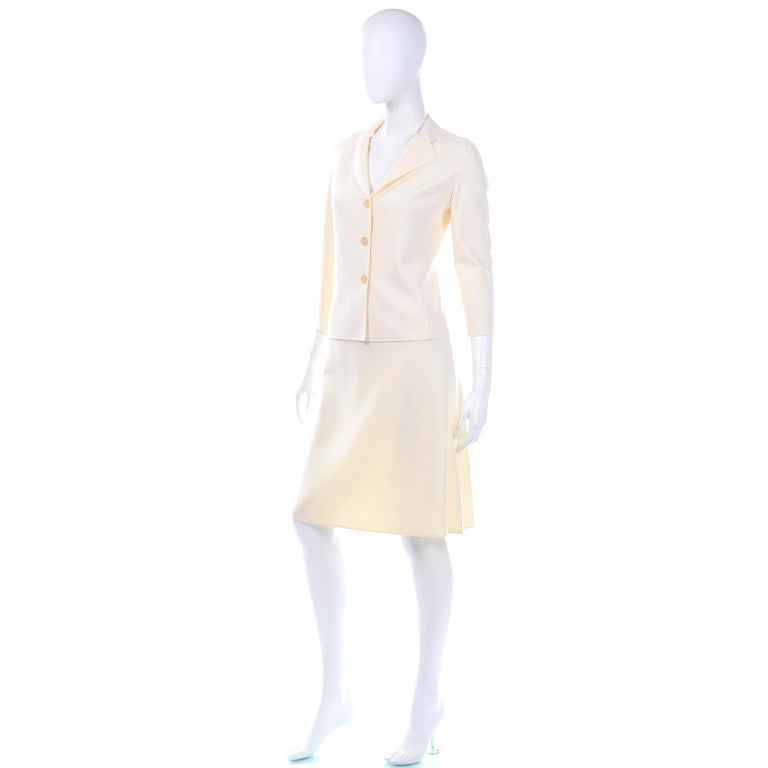 Celine Ivory Wool Suit With Skirt and Cropped Sleeve Jacket For Sale 2